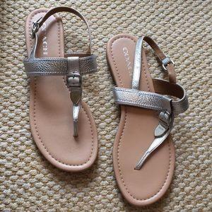 Coach Silver Sandals - Size 9.5